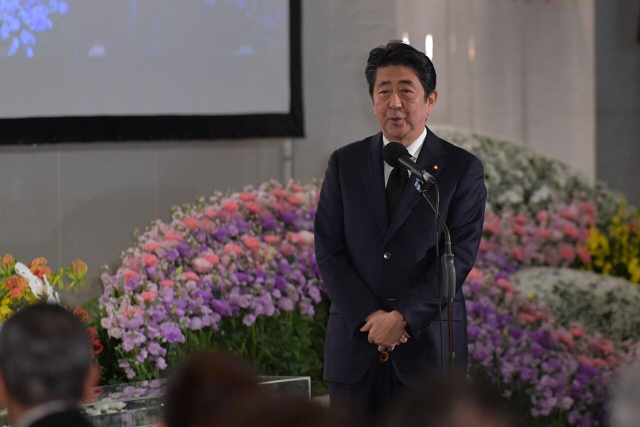 津川雅彦さん朝丘雪路さんお別れの会_安倍晋三首相