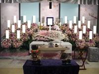 市川市斎場(第三式場)で桜をアレンジした花祭壇